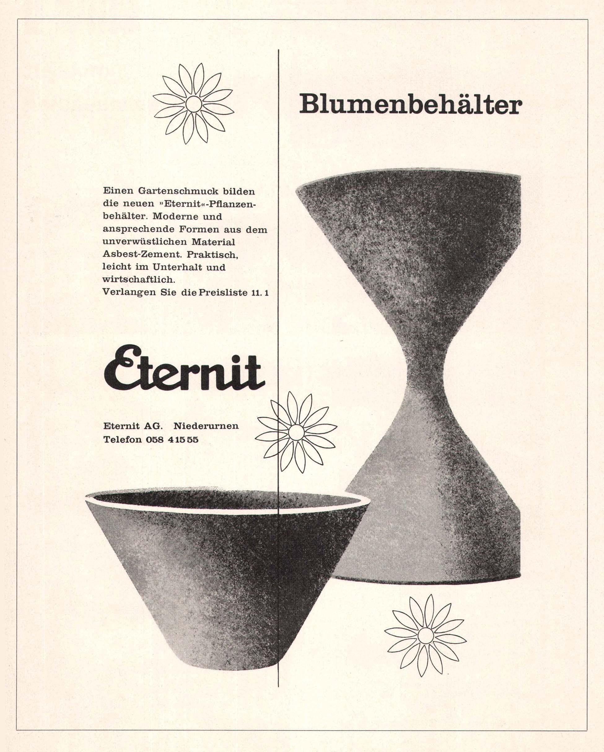 Mobilier de jardin vintage suisse en eternit fibrociment for Meubles en suisse